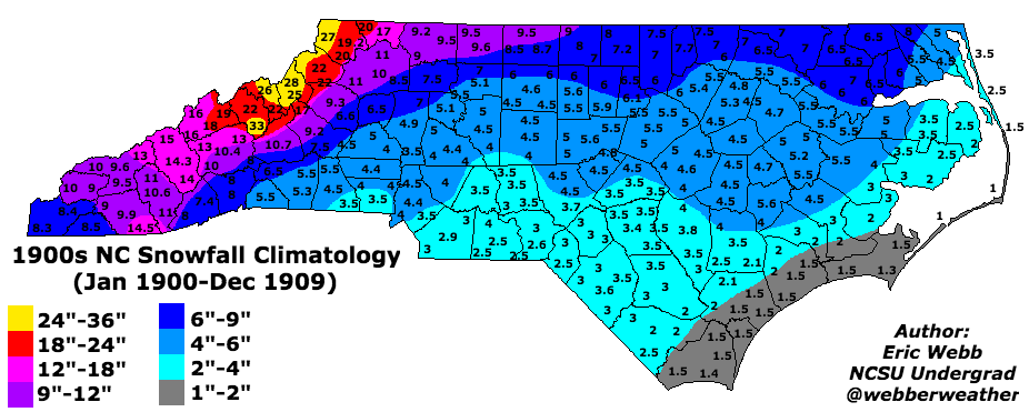 NC Winter Weather Climatology on